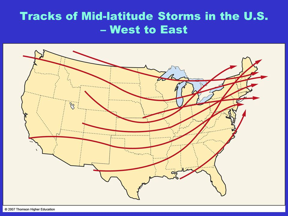 Tracks of Mid-latitude Storms in the U.S. – West to East