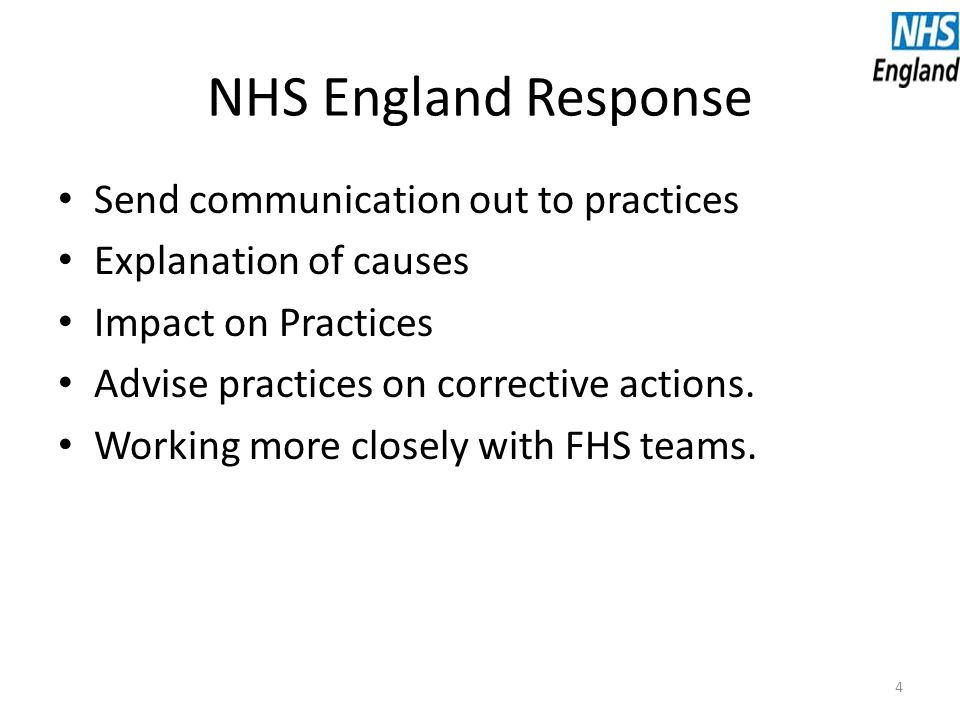 NHS England Response Send communication out to practices Explanation of causes Impact on Practices Advise practices on corrective actions.