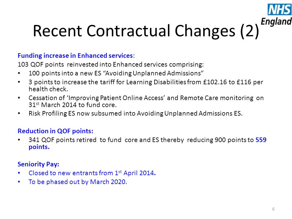 Recent Contractual Changes (2) Funding increase in Enhanced services: 103 QOF points reinvested into Enhanced services comprising: 100 points into a new ES Avoiding Unplanned Admissions 3 points to increase the tariff for Learning Disabilities from £102.16 to £116 per health check.
