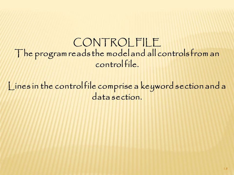 18 CONTROL FILE The program reads the model and all controls from an control file.