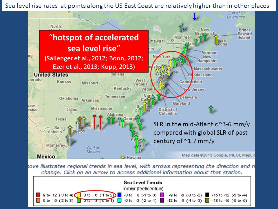 Sea level rise rates at points along the US East Coast are relatively higher than in other places SLR in the mid-Atlantic ~3-6 mm/y compared with global SLR of past century of ~1.7 mm/y hotspot of accelerated sea level rise (Sallenger et al., 2012; Boon, 2012; Ezer et al., 2013; Kopp, 2013)