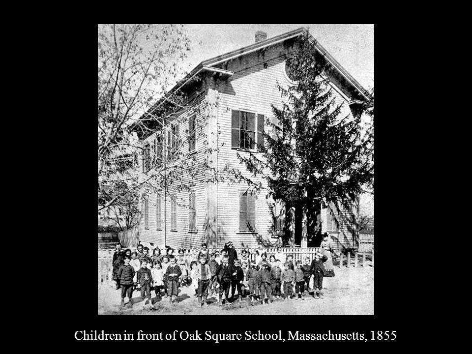 Children in front of Oak Square School, Massachusetts, 1855