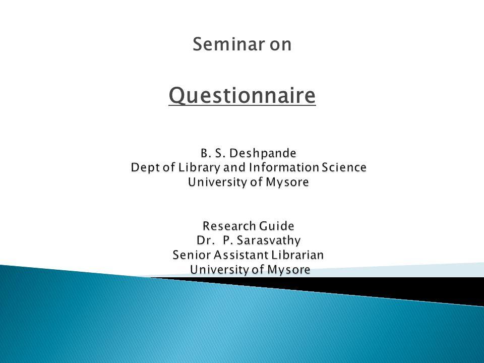 Seminar on Questionnaire