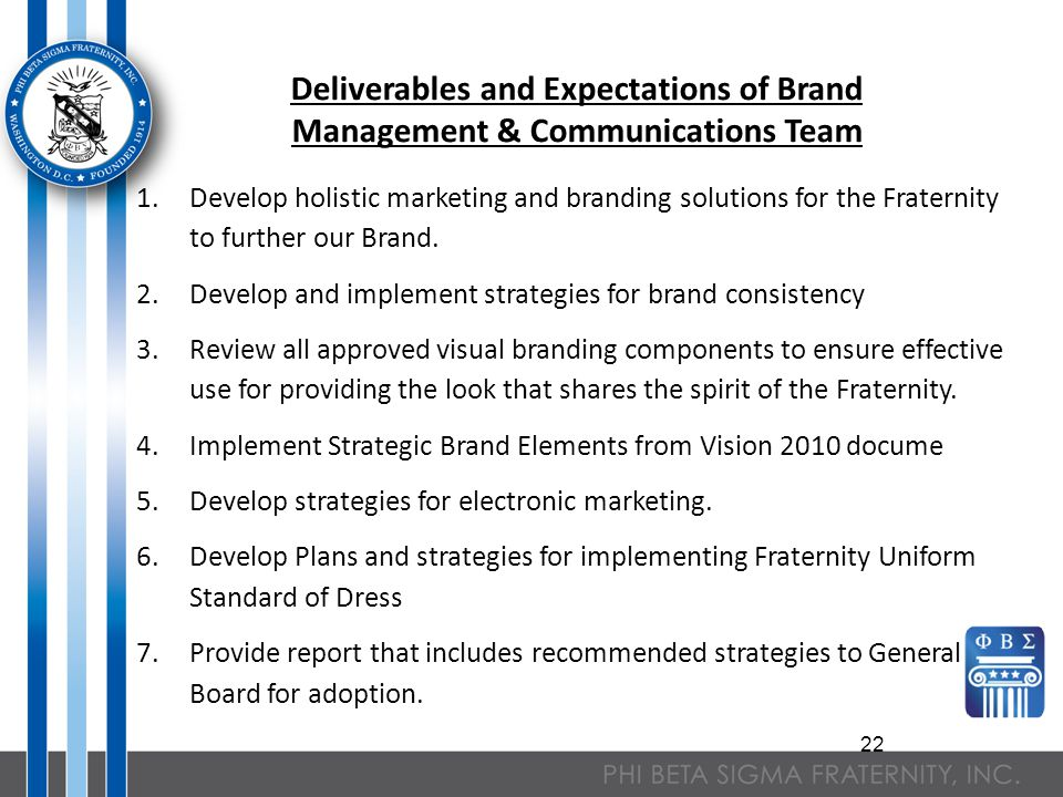 22 Deliverables and Expectations of Brand Management & Communications Team 1.Develop holistic marketing and branding solutions for the Fraternity to further our Brand.