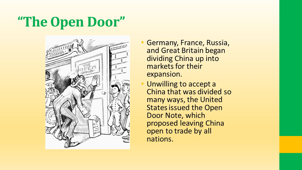 The Open Door Germany, France, Russia, and Great Britain began dividing China up into markets for their expansion.