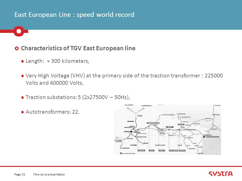 East European Line : speed world record  Characteristics of TGV East European line Length: ≈ 300 kilometers, Very High Voltage (VHV) at the primary side of the traction transformer : 225000 Volts and 400000 Volts, Traction substations: 5 (2x27500V – 50Hz), Autotransformers: 22.