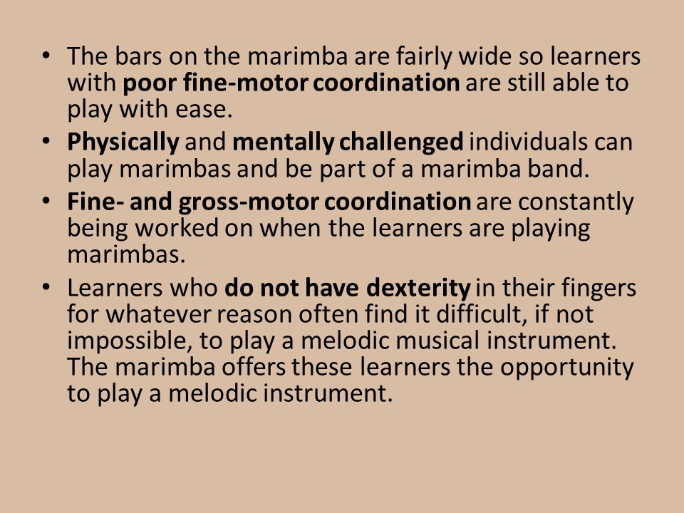 The bars on the marimba are fairly wide so learners with poor fine-motor coordination are still able to play with ease. Physically and mentally challe