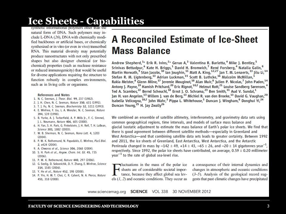 Ice Sheets - Capabilities FACULTY OF SCIENCE ENGINEERING AND TECHNOLOGY 4 Uncertainties still equivalent to 30% of sea level change.