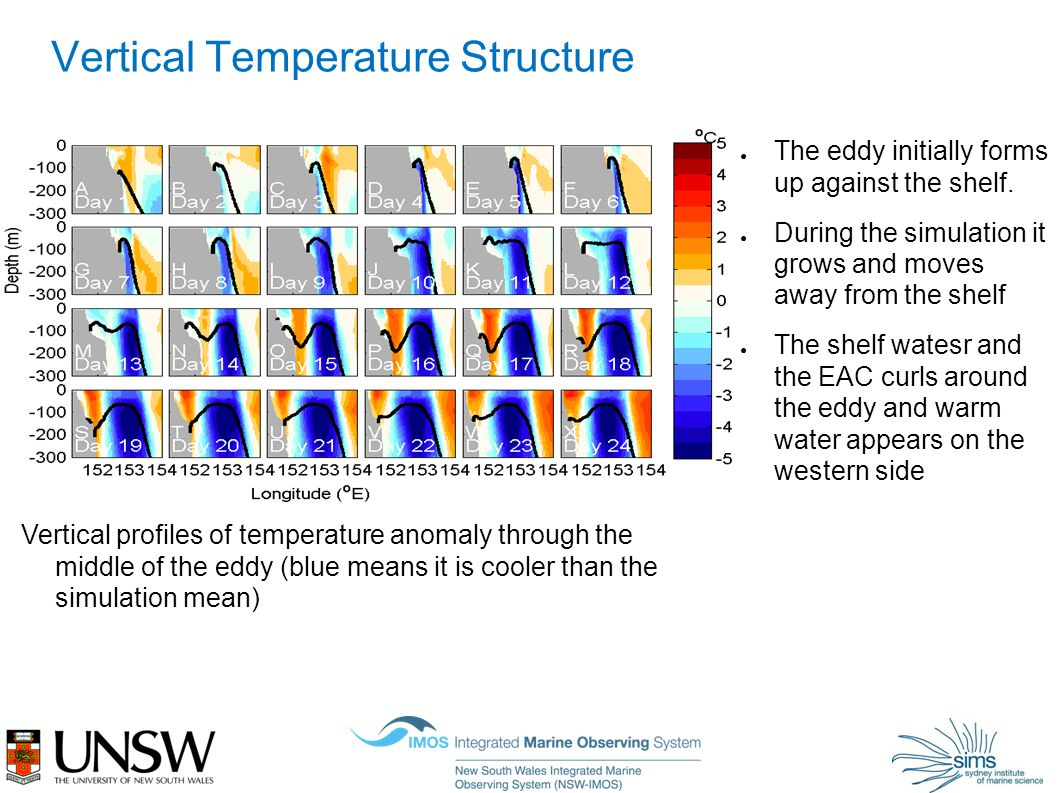 Vertical Temperature Structure Vertical profiles of temperature anomaly through the middle of the eddy (blue means it is cooler than the simulation mean) ● The eddy initially forms up against the shelf.