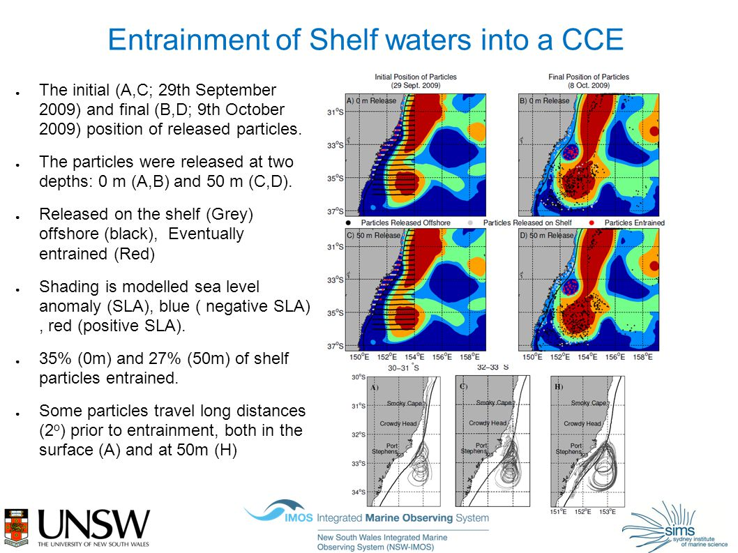 Entrainment of Shelf waters into a CCE ● The initial (A,C; 29th September 2009) and final (B,D; 9th October 2009) position of released particles.