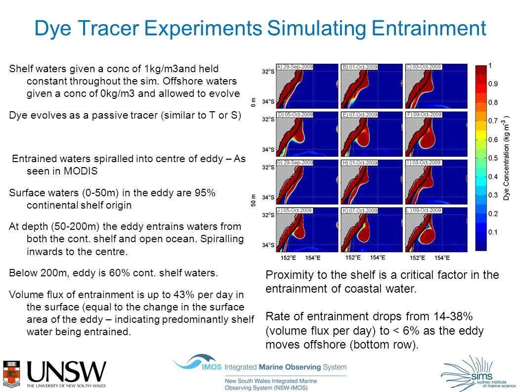 Dye Tracer Experiments Simulating Entrainment Shelf waters given a conc of 1kg/m3and held constant throughout the sim.