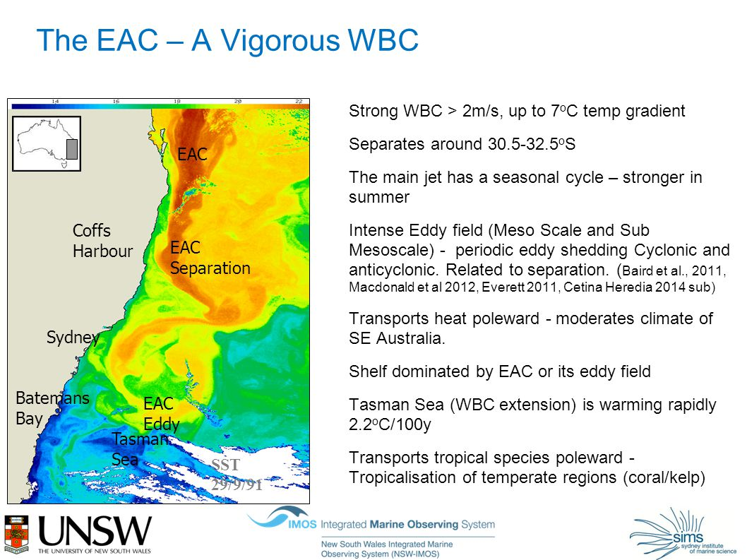 The EAC – A Vigorous WBC Strong WBC > 2m/s, up to 7 o C temp gradient Separates around 30.5-32.5 o S The main jet has a seasonal cycle – stronger in summer Intense Eddy field (Meso Scale and Sub Mesoscale) - periodic eddy shedding Cyclonic and anticyclonic.