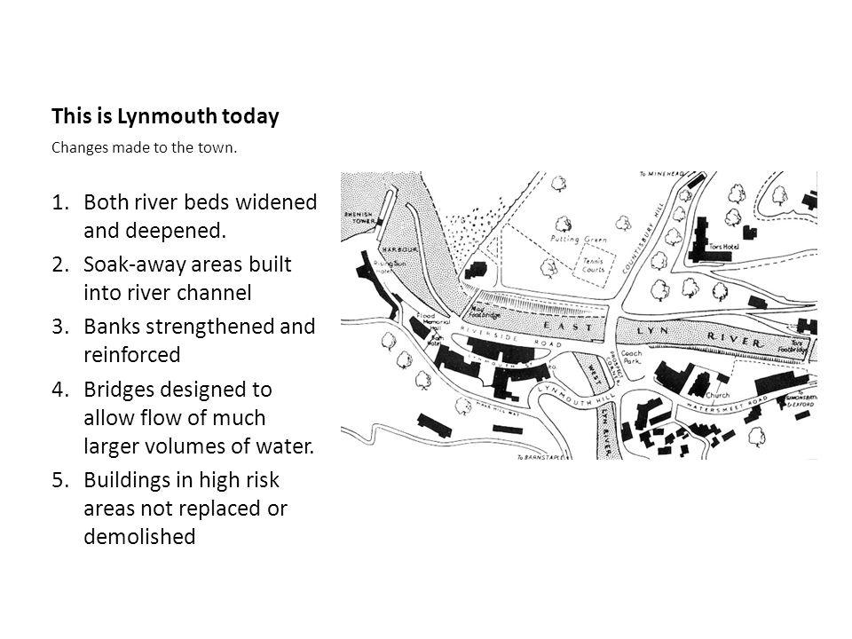 This is Lynmouth today Changes made to the town. 1.Both river beds widened and deepened. 2.Soak-away areas built into river channel 3.Banks strengthen