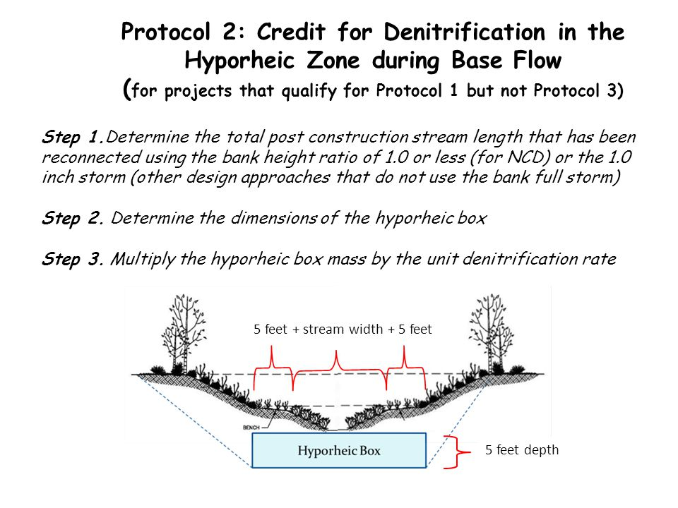 Protocol 2: Credit for Denitrification in the Hyporheic Zone during Base Flow ( for projects that qualify for Protocol 1 but not Protocol 3) 5 feet +