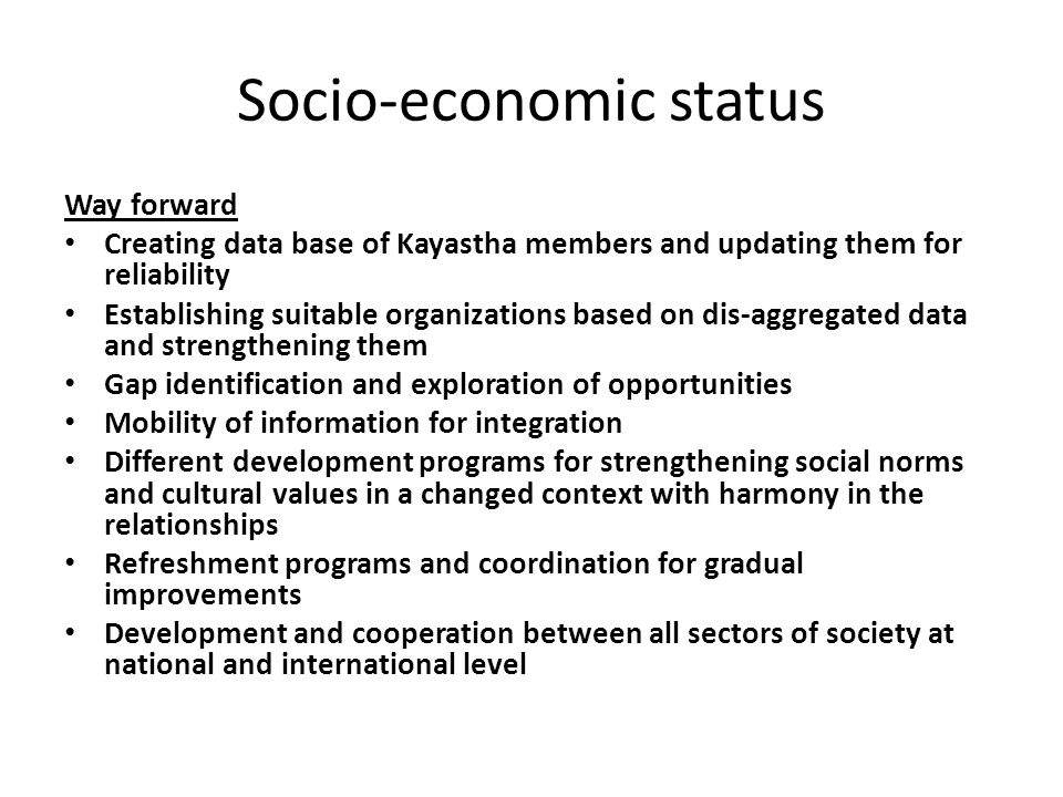Socio-economic status Way forward Creating data base of Kayastha members and updating them for reliability Establishing suitable organizations based on dis-aggregated data and strengthening them Gap identification and exploration of opportunities Mobility of information for integration Different development programs for strengthening social norms and cultural values in a changed context with harmony in the relationships Refreshment programs and coordination for gradual improvements Development and cooperation between all sectors of society at national and international level