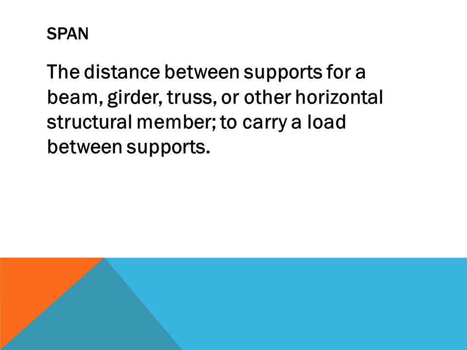 SPAN The distance between supports for a beam, girder, truss, or other horizontal structural member; to carry a load between supports.