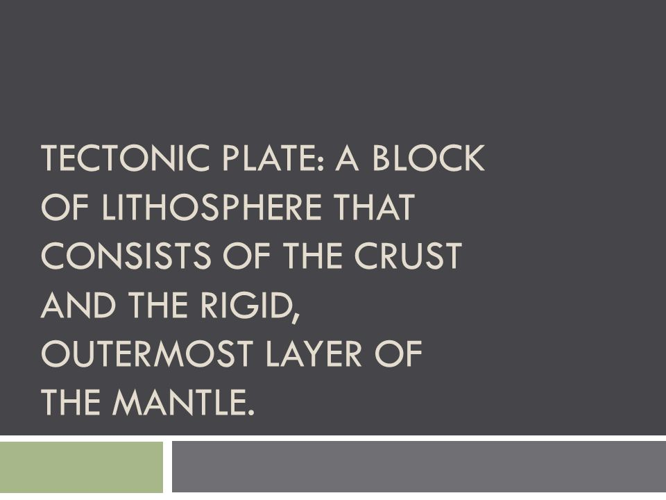 TECTONIC PLATE: A BLOCK OF LITHOSPHERE THAT CONSISTS OF THE CRUST AND THE RIGID, OUTERMOST LAYER OF THE MANTLE.