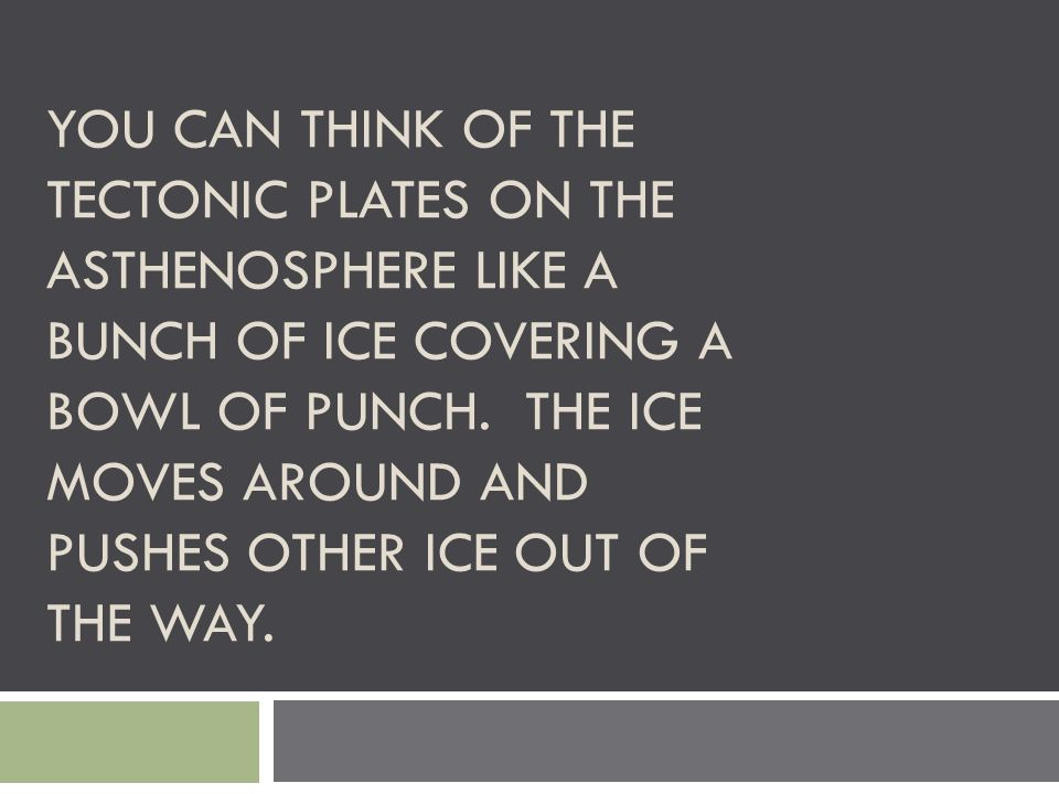YOU CAN THINK OF THE TECTONIC PLATES ON THE ASTHENOSPHERE LIKE A BUNCH OF ICE COVERING A BOWL OF PUNCH. THE ICE MOVES AROUND AND PUSHES OTHER ICE OUT