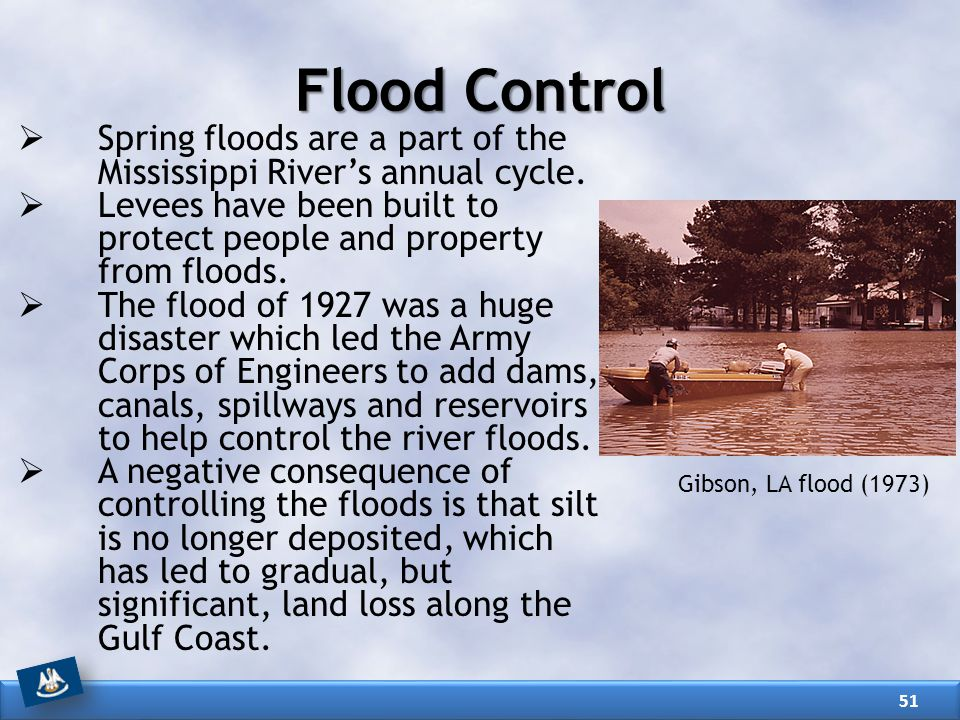  Spring floods are a part of the Mississippi River's annual cycle.  Levees have been built to protect people and property from floods.  The flood o