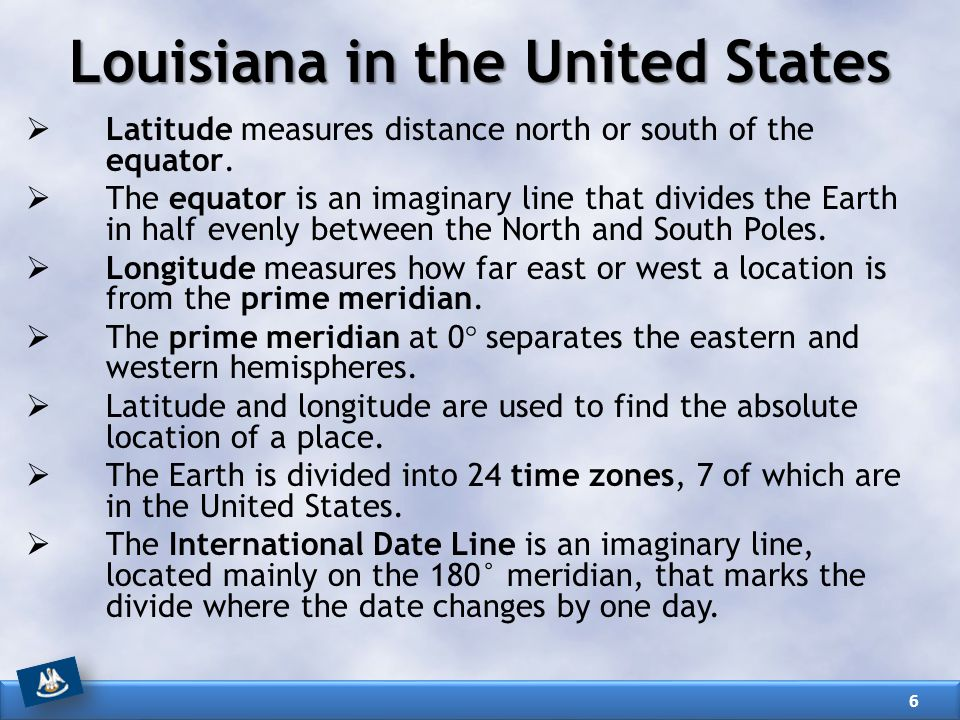  Latitude measures distance north or south of the equator.  The equator is an imaginary line that divides the Earth in half evenly between the North