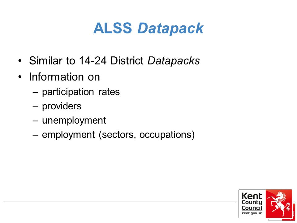 ALSS Datapack Similar to 14-24 District Datapacks Information on –participation rates –providers –unemployment –employment (sectors, occupations)