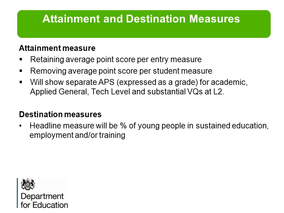 Attainment measure  Retaining average point score per entry measure  Removing average point score per student measure  Will show separate APS (expr
