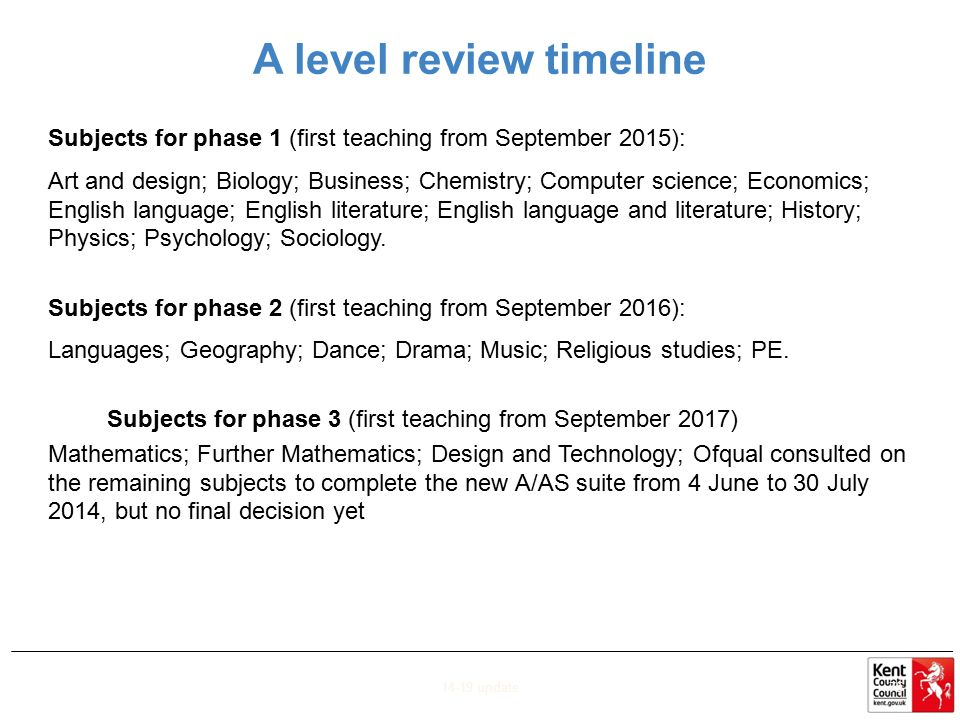 A level review timeline Subjects for phase 1 (first teaching from September 2015): Art and design; Biology; Business; Chemistry; Computer science; Eco