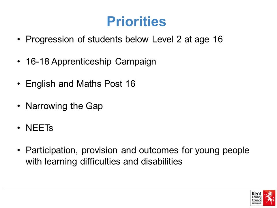 Priorities Progression of students below Level 2 at age 16 16-18 Apprenticeship Campaign English and Maths Post 16 Narrowing the Gap NEETs Participati