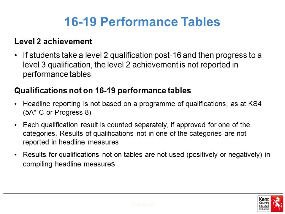 16-19 Performance Tables Level 2 achievement If students take a level 2 qualification post-16 and then progress to a level 3 qualification, the level