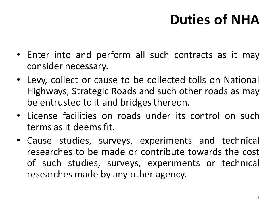 Duties of NHA Enter into and perform all such contracts as it may consider necessary.