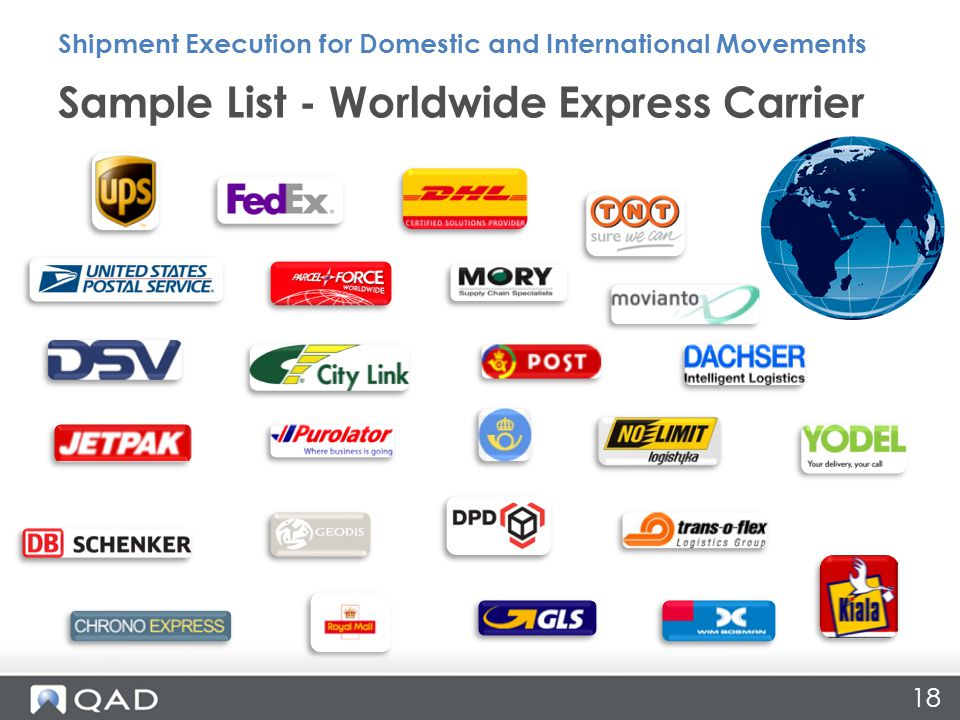 18 Sample List - Worldwide Express Carrier Shipment Execution for Domestic and International Movements
