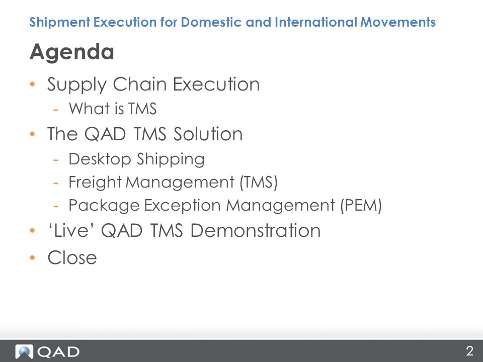 3 Supply Chain Execution Shipment Execution for Domestic and International Movements