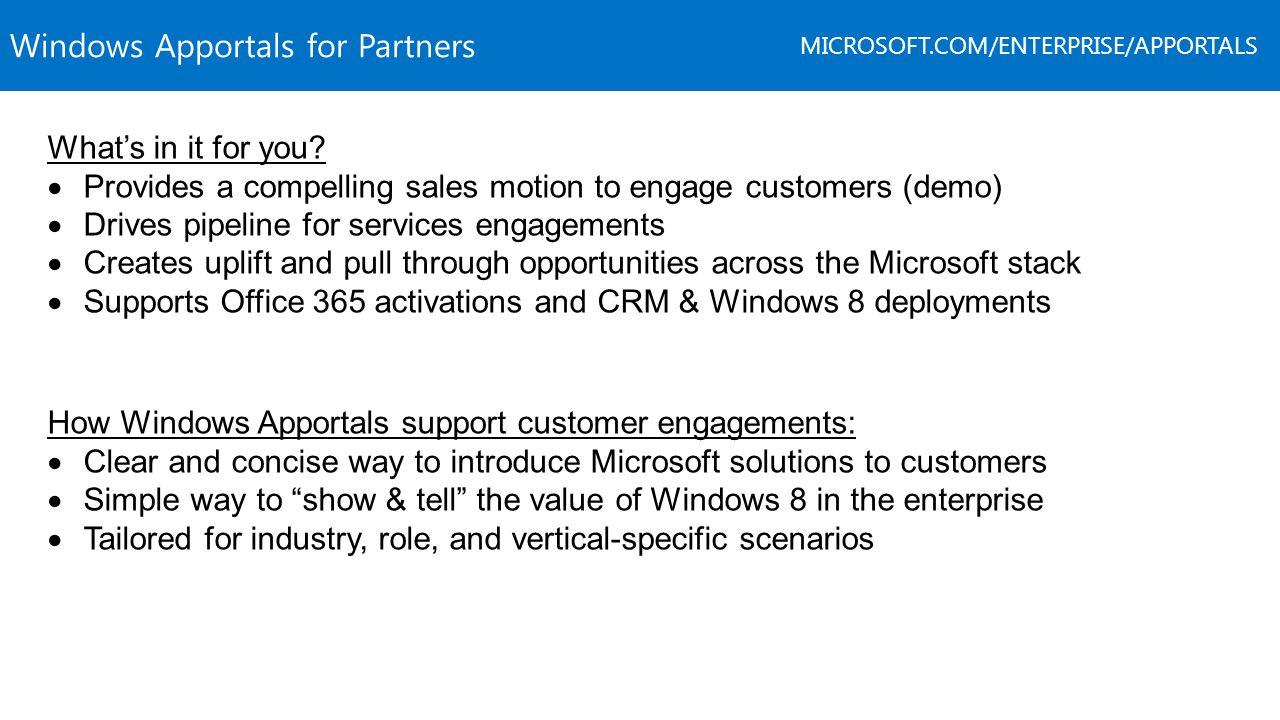 Windows Apportals for Partners MICROSOFT.COM/ENTERPRISE/APPORTALS