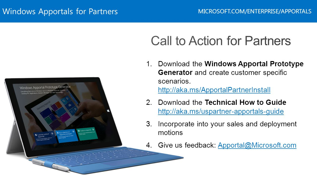 Windows Apportals for Partners MICROSOFT.COM/ENTERPRISE/APPORTALS 1.