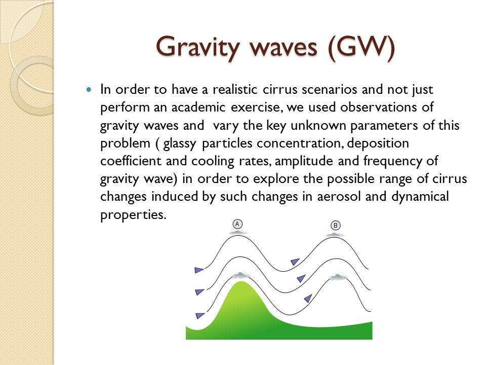 In order to have a realistic cirrus scenarios and not just perform an academic exercise, we used observations of gravity waves and vary the key unknown parameters of this problem ( glassy particles concentration, deposition coefficient and cooling rates, amplitude and frequency of gravity wave) in order to explore the possible range of cirrus changes induced by such changes in aerosol and dynamical properties.