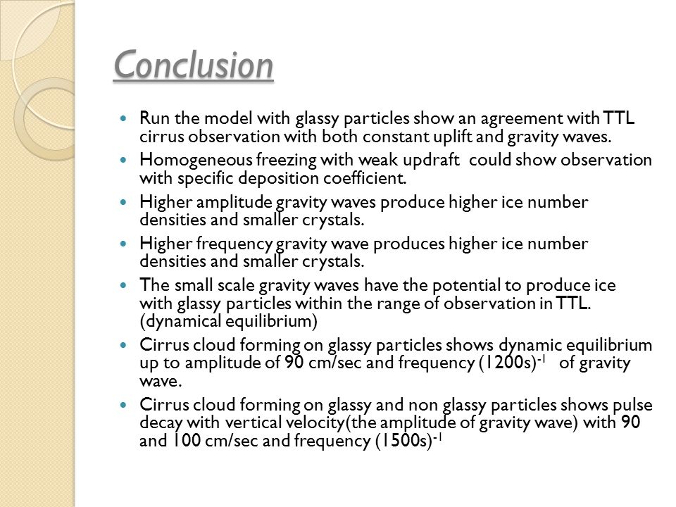 Conclusion Run the model with glassy particles show an agreement with TTL cirrus observation with both constant uplift and gravity waves.