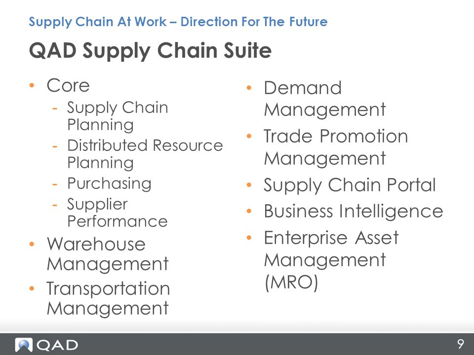 9 Core -Supply Chain Planning -Distributed Resource Planning -Purchasing -Supplier Performance Warehouse Management Transportation Management Demand M