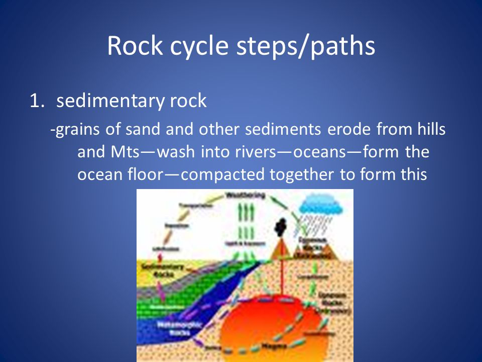 Rock cycle steps/paths 1.sedimentary rock -grains of sand and other sediments erode from hills and Mts—wash into rivers—oceans—form the ocean floor—compacted together to form this