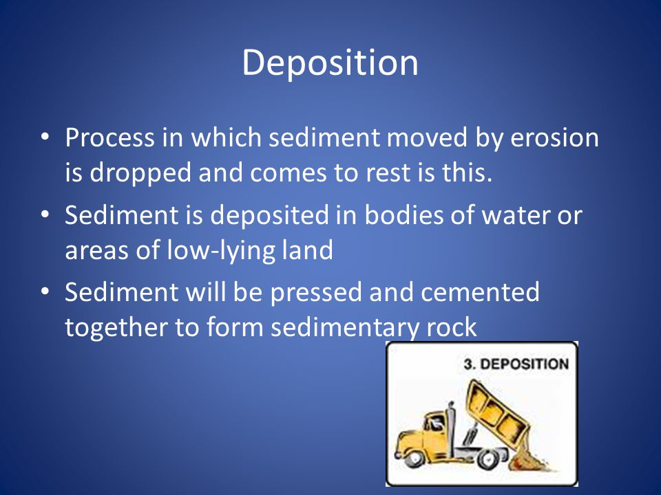 Deposition Process in which sediment moved by erosion is dropped and comes to rest is this.