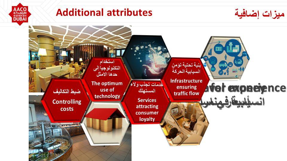 ميزات إضافية Additional attributes Value for money أسعار مناسبة Seamless travel experience انسيابية في مراحل النقل