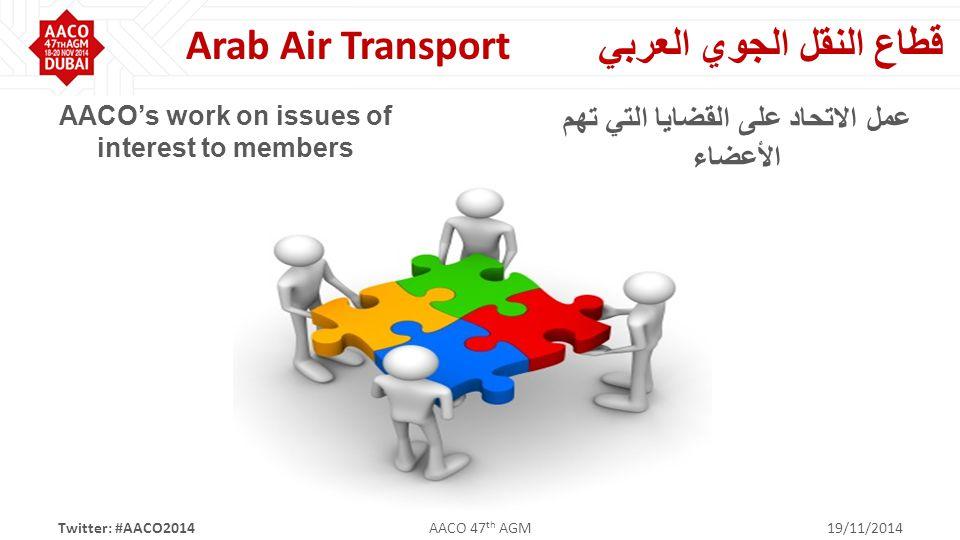 قطاع النقل الجوي العربي Arab Air Transport AACO's work on issues of interest to members عمل الاتحاد على القضايا التي تهم الأعضاء Twitter: #AACO2014AACO 47 th AGM19/11/2014