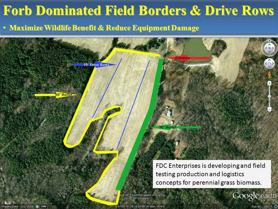 Forb Dominated Field Borders & Drive Rows Maximize Wildlife Benefit & Reduce Equipment Damage Maximize Wildlife Benefit & Reduce Equipment Damage Forb Dominated Field Borders & Drive Rows Maximize Wildlife Benefit & Reduce Equipment Damage Maximize Wildlife Benefit & Reduce Equipment Damage FDC Enterprises is developing and field testing production and logistics concepts for perennial grass biomass.