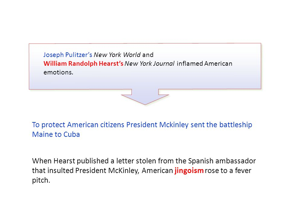 Joseph Pulitzer's New York World and William Randolph Hearst's New York Journal inflamed American emotions.