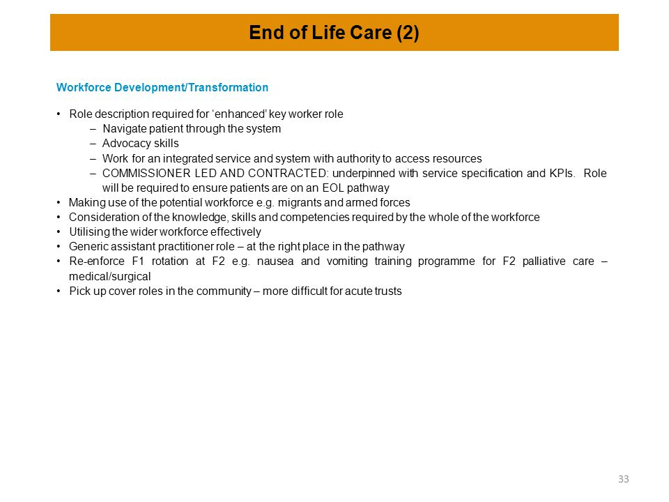 End of Life Care (2) Workforce Development/Transformation Role description required for 'enhanced' key worker role –Navigate patient through the syste