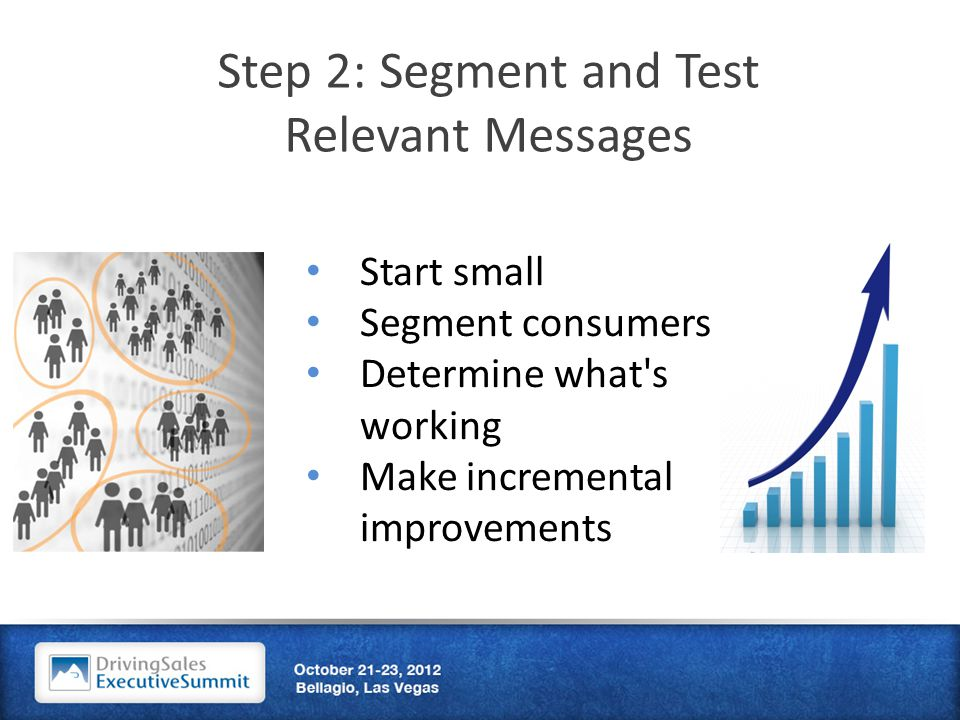 Step 2: Segment and Test Relevant Messages Start small Segment consumers Determine what s working Make incremental improvements