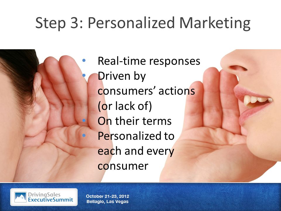 Step 3: Personalized Marketing Real-time responses Driven by consumers' actions (or lack of) On their terms Personalized to each and every consumer