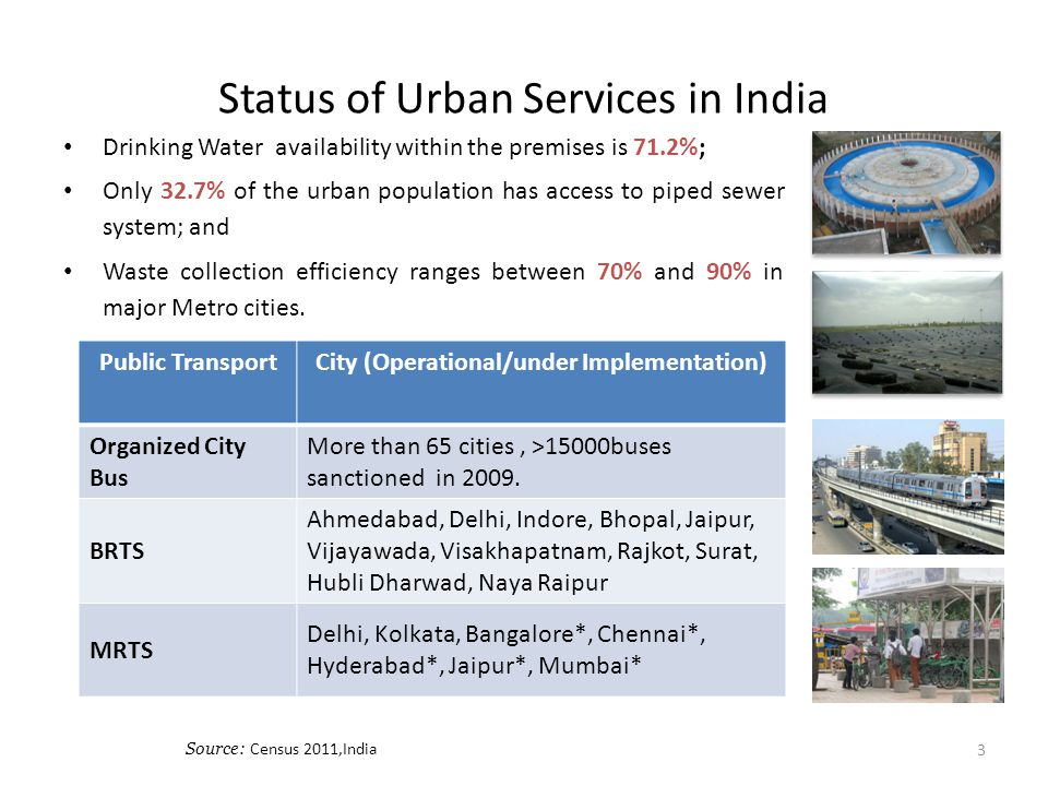 Status of Urban Services in India Drinking Water availability within the premises is 71.2%; Only 32.7% of the urban population has access to piped sew