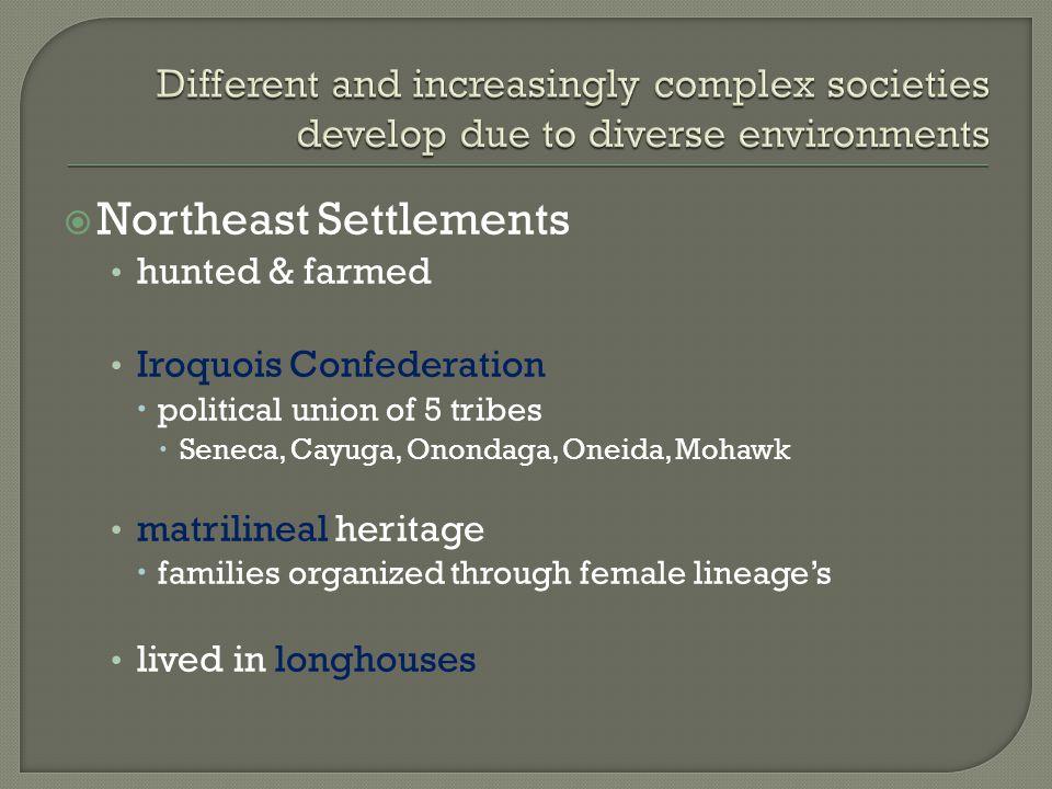  Northeast Settlements hunted & farmed Iroquois Confederation  political union of 5 tribes  Seneca, Cayuga, Onondaga, Oneida, Mohawk matrilineal heritage  families organized through female lineage's lived in longhouses