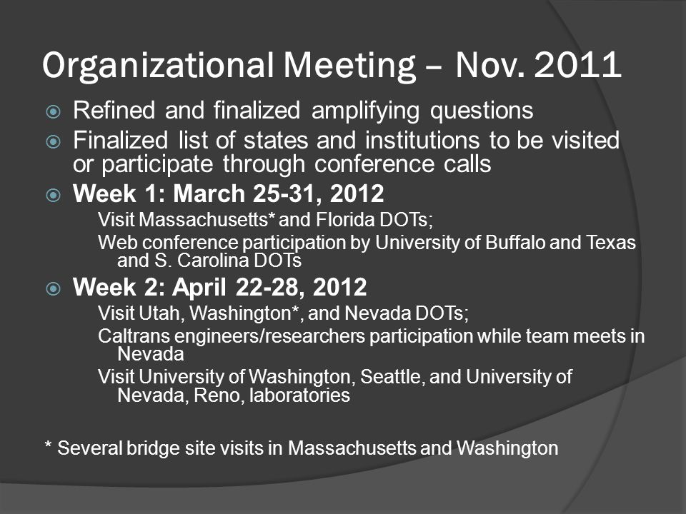 Organizational Meeting – Nov.