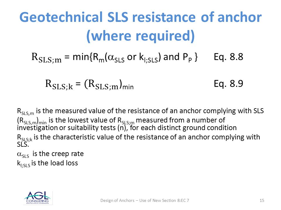 Geotechnical SLS resistance of anchor (where required) Design of Anchors – Use of New Section 8:EC 715
